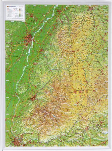 Schwarzwald Relief klein ohne Rahmen – 39 cm x 29 cm