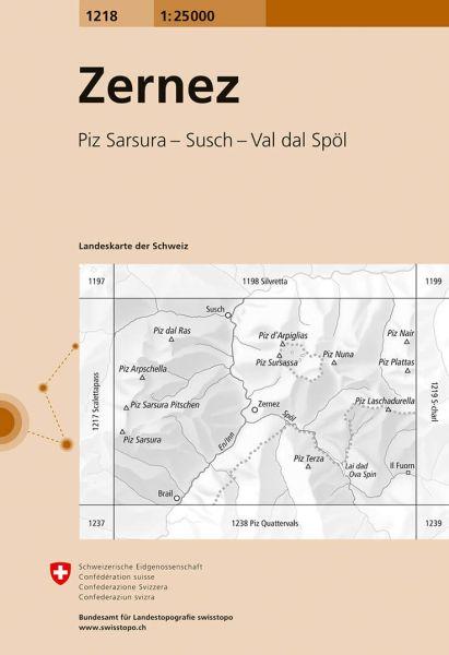 1218 Zernez topographische Wanderkarte Schweiz 1:25.000