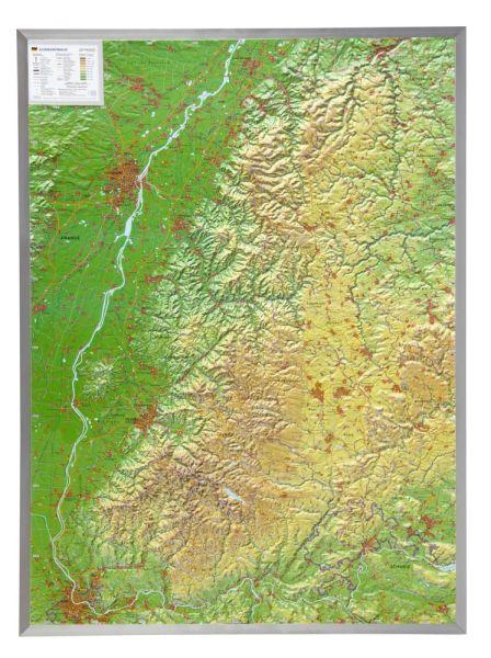 Schwarzwald Relief groß mit Alu-Rahmen – 77 cm x 57 cm