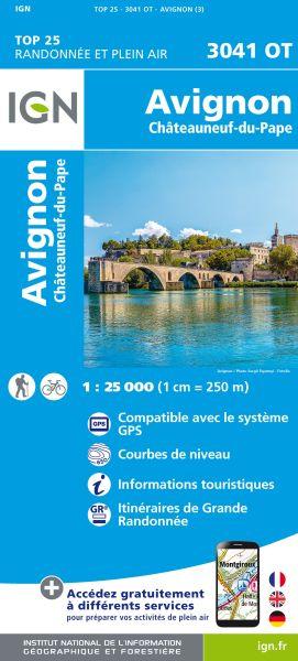 IGN 3041 OT Avignon. Chateauneuf-du-Papa, Frankreich Wanderkarte 1:25.000