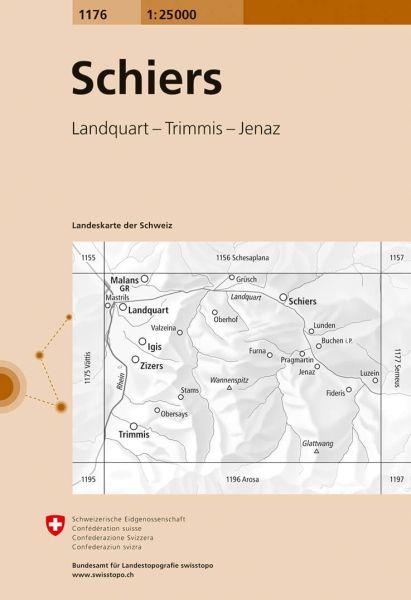 1176 Schiers topographische Wanderkarte Schweiz 1:25.000