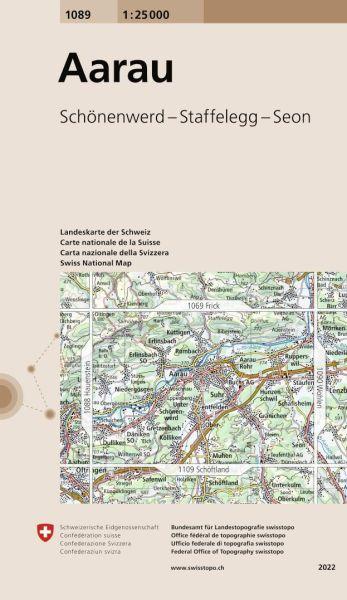 1089 Aarau topographische Wanderkarte Schweiz 1:25.000