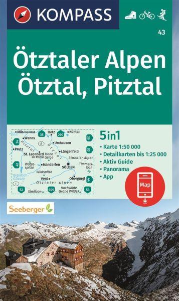 Kompass Karte 43, Ötztaler Alpen, Pitztal 1:50.000, Wandern, Rad fahren