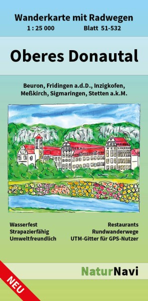 Oberes Donautal 1:25.000 Wanderkarte mit Radwegen – NaturNavi Bl. 51-532