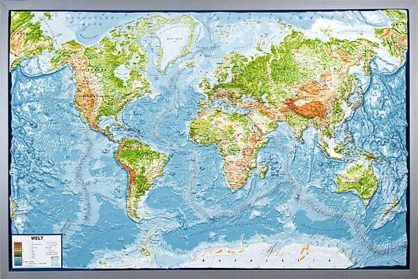 Reliefkarte Welt physisch mit silbernem Holzrahmen, 92,6 cm x 139 cm