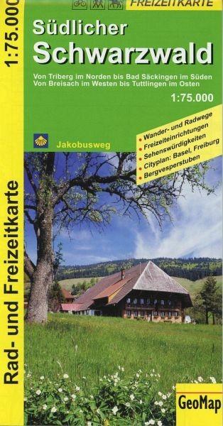 Freizeitkarte für den südlichen Schwarzwald in 1:75.000, Wandern, Rad