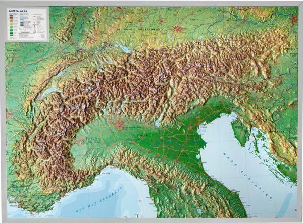 Alpen Relief groß ohne Rahmen – 77 cm x 57 cm