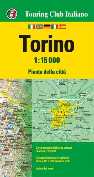 TCI Turin, Torino Stadtplan (Touring Club Italiano) 1:15.000 wasser- und reißfest