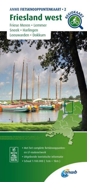 Friesland West Radkarte mit Knotenpunkten 1:100.000, ANWB Bl. 02