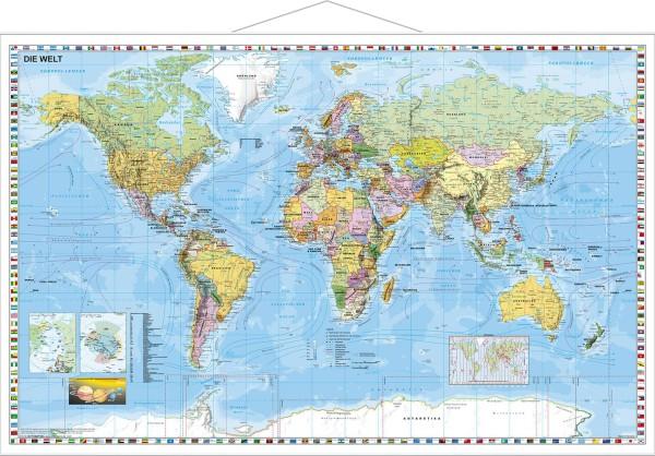 Weltkarte politisch Poster mit Metallleisten vom Stiefel Verlag 95x62 cm