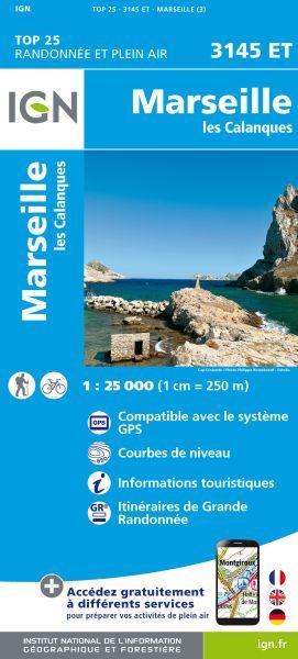 IGN 3145 ET Marseille, les Calanques, Frankreich Wanderkarte 1:25.000