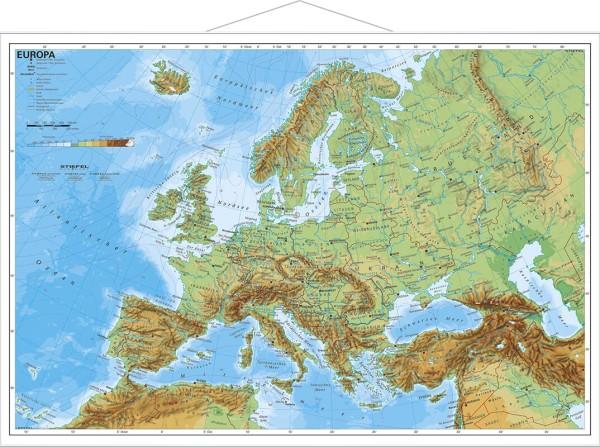Europakarte physisch Poster mit Metallleisten vom Stiefel Verlag 95x66 cm