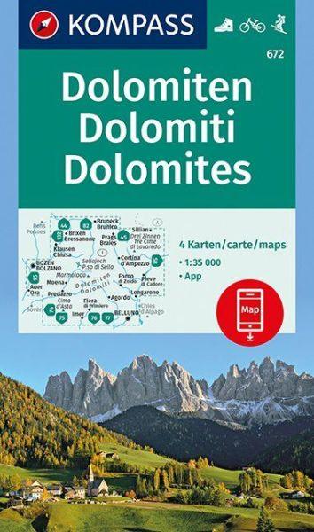 Kompass Karte 672, Dolomiten 1:35.000, Rad- und Wanderkarte mit Skitouren
