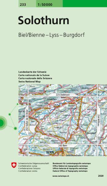233 Solothurn topographische Wanderkarte Schweiz 1:50.000