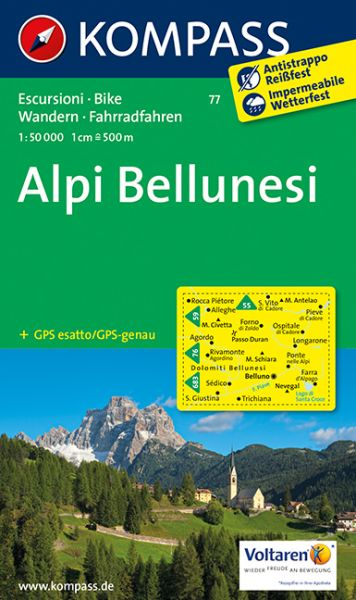 Kompass Karte 77, Alpi Bellunesi 1:50.000, Wandern, Rad fahren