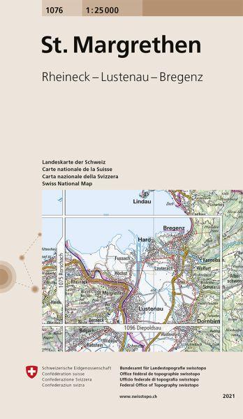 1076 St. Margrethen topographische Wanderkarte Schweiz 1:25.000