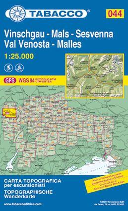 Tabacco 044 Val Venosta / Vinschgau - Sesvenna Wanderkarte 1:25.000