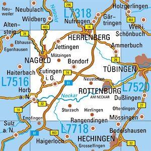 L7518 Rottenburg topographische Karte 1:50.000 Baden-Württemberg, TK50