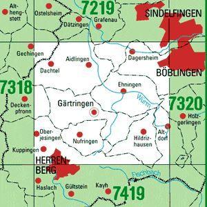 7319 GÄRTRINGEN topographische Karte 1:25.000 Baden-Württemberg, TK25