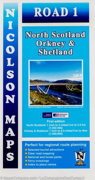 North Scotland, Orkney & Shetland, touristische Straßenkarte 1:250.000