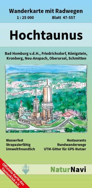 Hochtaunus 1:25.000 Wanderkarte mit Radwegen – NaturNavi Bl. 47-557