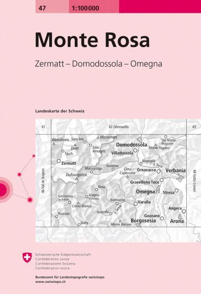 47 Monte Rosa topographische Karte Schweiz 1:100.000