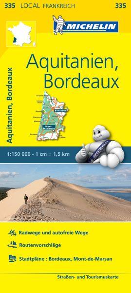 Michelin local 335 Aquitanien, Bordeaux Straßenkarte 1:150.000