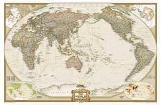 NGS Poster Weltkarte Antik Executive Pazifik Ansicht Großformat 185 cm x 122 cm