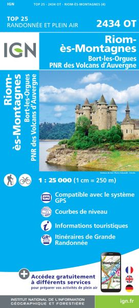 IGN 2434 OT Riom-es-Montagnes, Frankreich Wanderkarte 1:25.000