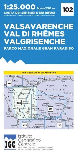 IGC 102 – Wanderkarte für Valsavarenche - Val die Rhêmes - Valgrisenche 1:25.000