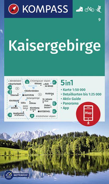 Kompass Karte 9, Kaisergebirge 1:50.000, Wandern, Rad fahren