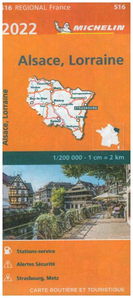 Michelin regional 516 Elsass, Lothringen Straßenkarte 2020 1:200.000