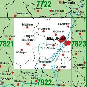7822 RIEDLINGEN topographische Karte 1:25.000 Baden-Württemberg, TK25