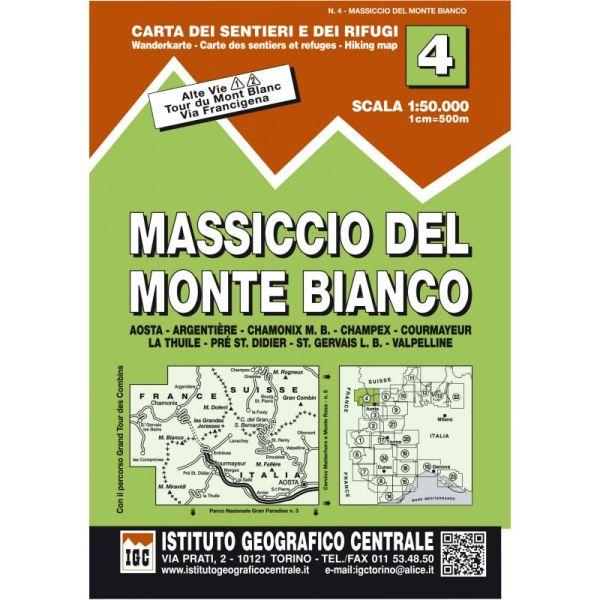 IGC 4 - Wanderkarte für Massiccio del Monte Bianco 1:50.000