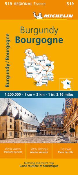 Michelin regional 519 Burgund Straßenkarte 1:200.000