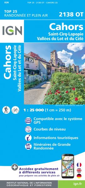 IGN 2138 OT Cahors, St-Cirq-Lapopie, Frankreich Wanderkarte 1:25.000