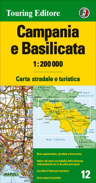 Kampanien und Basilikata Straßenkarte 1:200.000, TCI 12