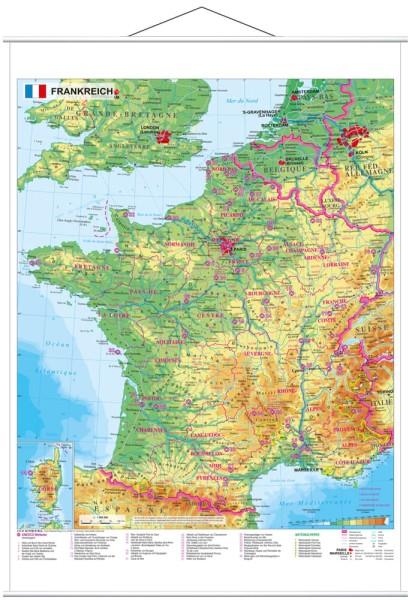 Frankreich physisch Poster mit Metallleisten vom Stiefel Verlag 67x86 cm