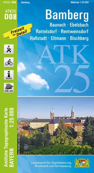 ATK25 D08 Bamberg, 1:25.000 amtliche topographische Karte mit Wander- und Radwegen, Bayern