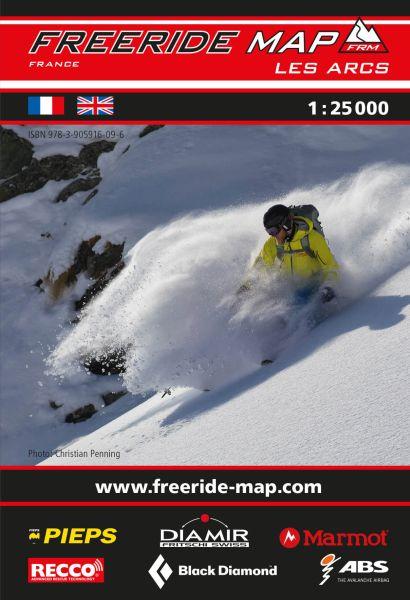 Freeride Map Les Arcs, Skitourenkarte 1:25.000