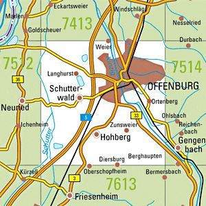 7513 OFFENBURG topographische Karte 1:25.000 Baden-Württemberg, TK25