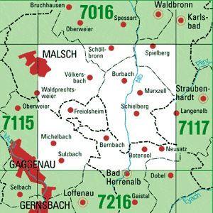 7116 MALSCH topographische Karte 1:25.000 Baden-Württemberg, TK25