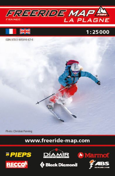 Freeride Map La Plagne, Skitourenkarte 1:25.000