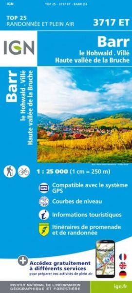 IGN 3717 ET Barr, Le Howald, Villé Frankreich topographische Wanderkarte 1:25.000