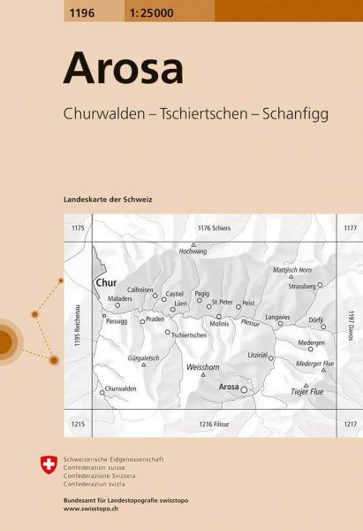 1196 Arosa topographische Wanderkarte Schweiz 1:25.000