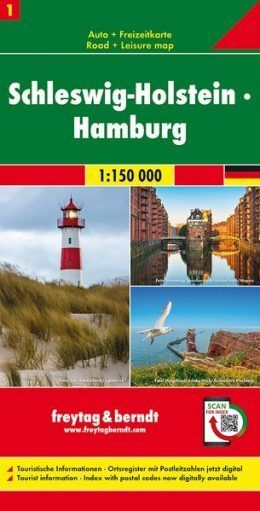 Schleswig-Holstein Autokarte im Maßstab 1:150.000 - Freytag&Berndt Karte 1
