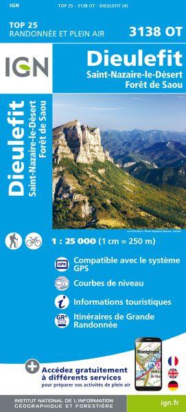 IGN 3138 OT Dieulefit, St-Nazaire-le-Desert, Wanderkarte 1:25.000