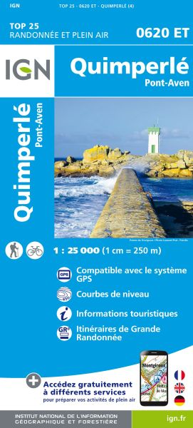 IGN 0620 ET Quimperle, Pont-Aven, Frankreich Wanderkarte 1:25.000