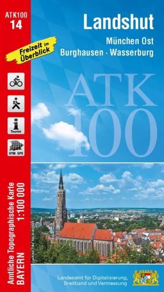 ATK100 Blatt 14 Landshut, Freizeitkarte, 1:100.000 amtliche topographische Karte
