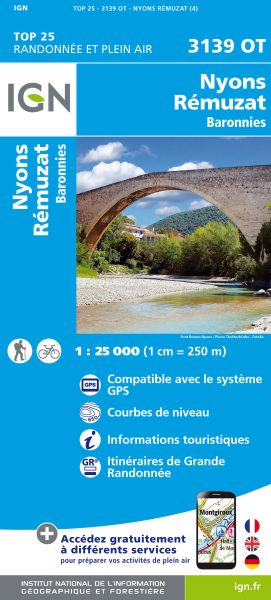 IGN 3139 OT Nyons, Remuzat, Boronnies, Frankreich Wanderkarte 1:25.000